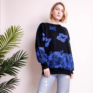 Vintage 80s metallic floral knit chunky sweater